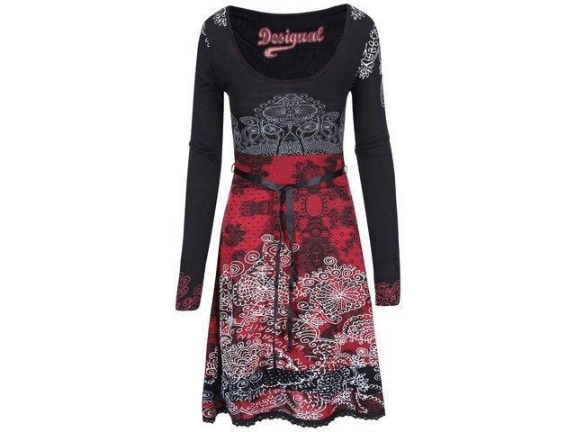 Černo-červené šaty se zavazováním Desigual Londie