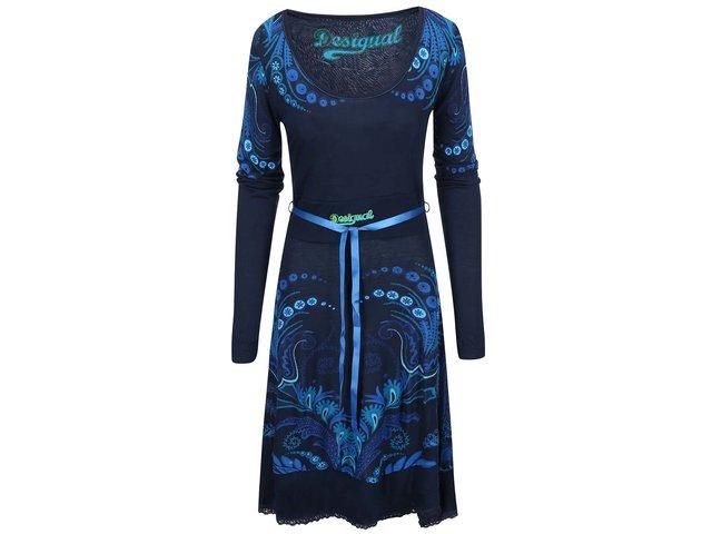 Modré šaty se vzorem Desigual Lorena