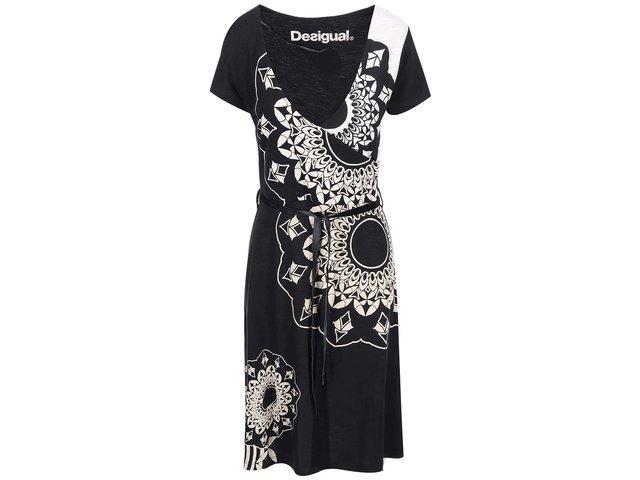 Černé vzorované šaty se zavazováním Desigual Celina