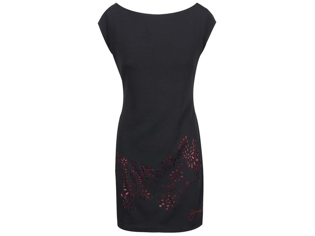 Černé šaty s perforovanými vzory Desigual Badajoz