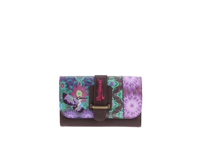 Fialovo-hnědá peněženka s květovaným vzorem Desigual