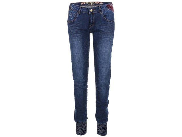 Modré džíny s nohavicemi do gumy Desigual Refriposas Puños