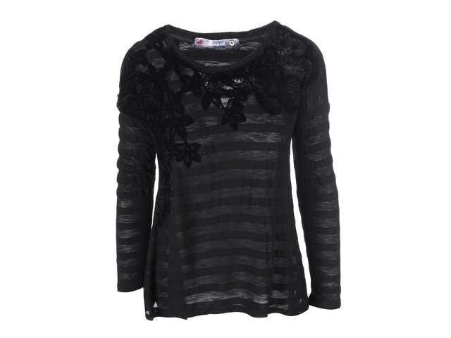 Černé tričko se vzorem květin  Desigual Chapin