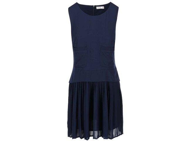 Tmavě modré šaty s plisovanou sukní Lavand
