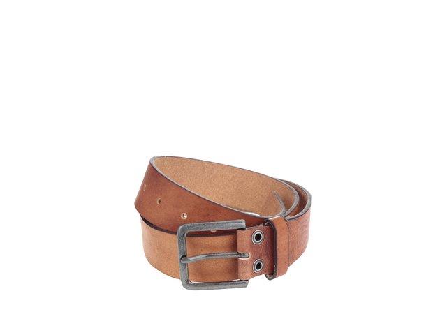 Hnědý hladký kožený pásek Jack & Jones Suprime