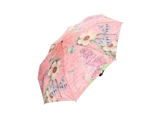 Růžový deštník s vintage potiskem Blooming Brollies