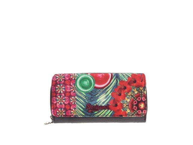 Zeleno-červená peněženka s tropickým vzorem Desigual