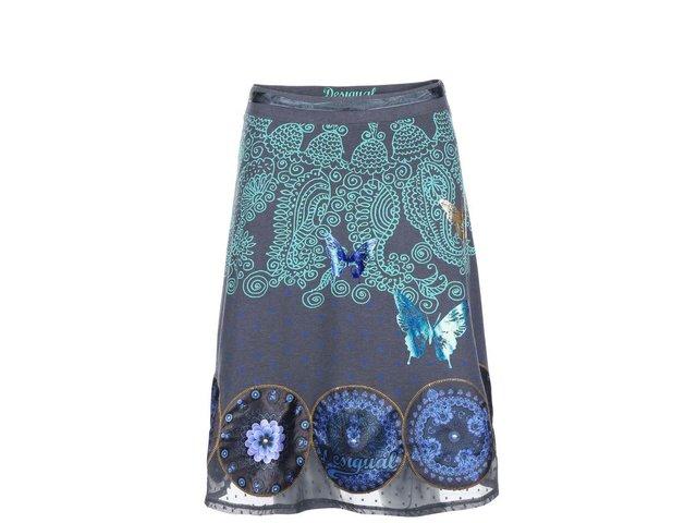 Šedá sukně se vzorem Desigual Cordelia