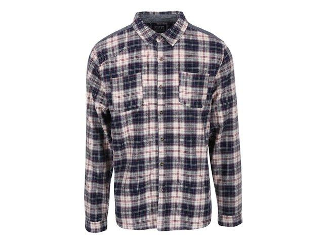Krémovo-modrá kostkovaná košile D-Struct Raymonde