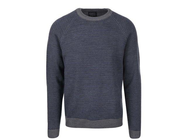 Šedo-modrý žíhaný svetr D-Struct Pilton