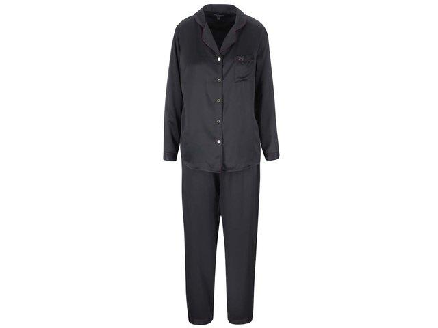 Černé saténové pyžamo na knoflíky s fialovým lemováním Lipsy