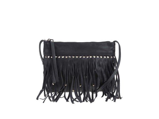 Černá menší kabelka přes rameno s třásněmi Pieces Vulcano