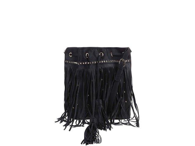 Černá kabelka přes rameno s třásněmi Pieces Vulcano