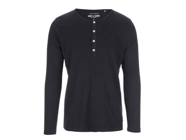 Černé triko s dlouhým rukávem ONLY & SONS Jim