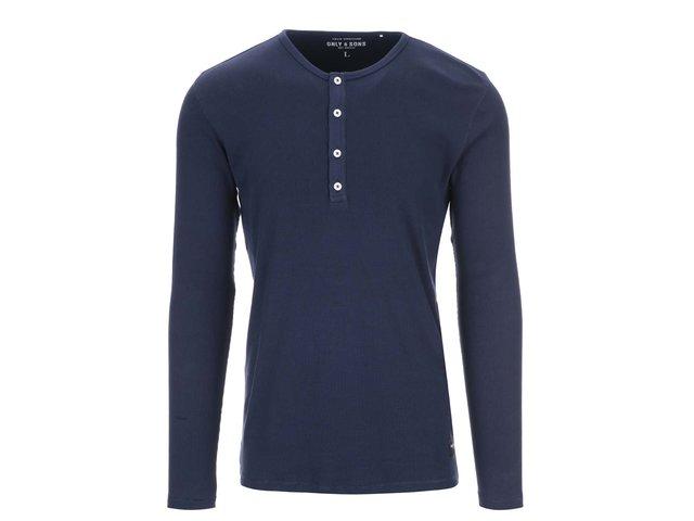 Tmavě modré triko s dlouhým rukávem ONLY & SONS Jim