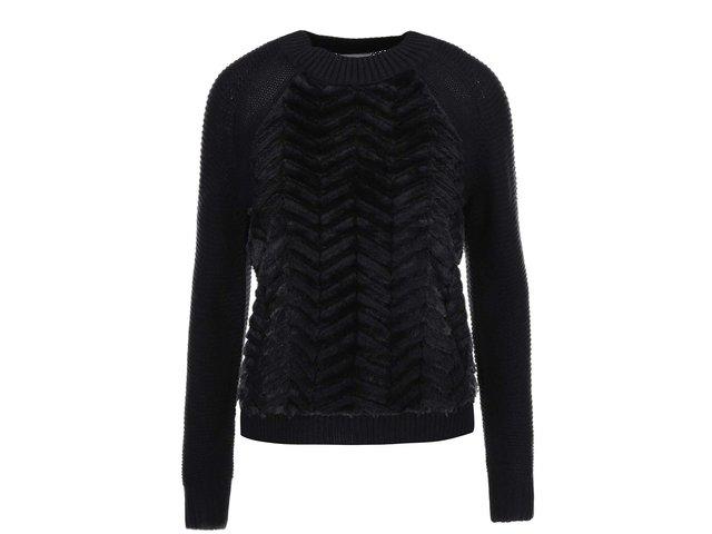 Černý svetr s umělou kožešinou Vero Moda Louand