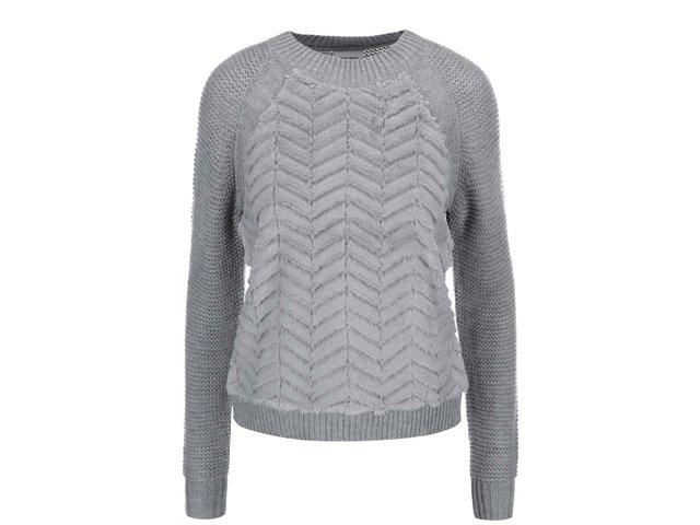 Šedý svetr s umělou kožešinou Vero Moda Louand