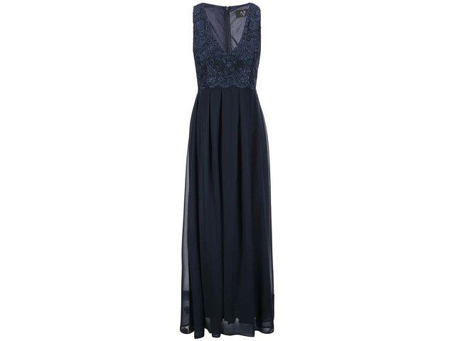 Tmavě modré šaty s vyšívaným topem s výstřihem AX Paris