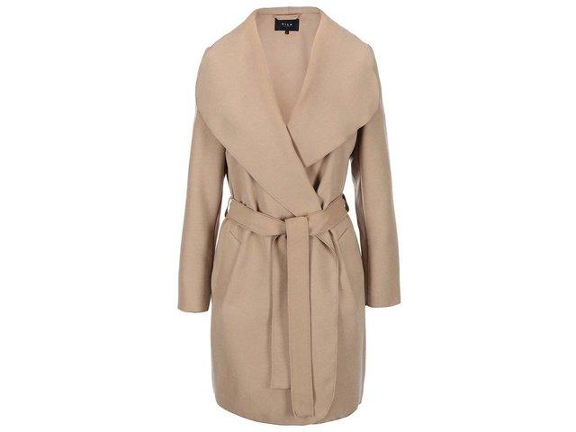 Světle hnědý kabát na zavazování VILA Ida