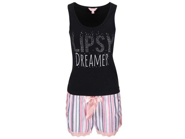 Růžovo-černé pyžamo s pruhovanými kraťásky Lipsy Dreamer
