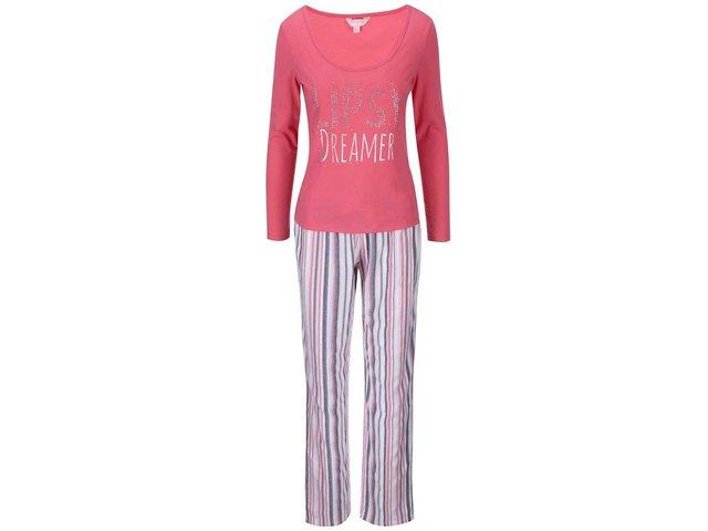 Růžové pyžamo s pruhovanými kalhotami Lipsy Dreamer
