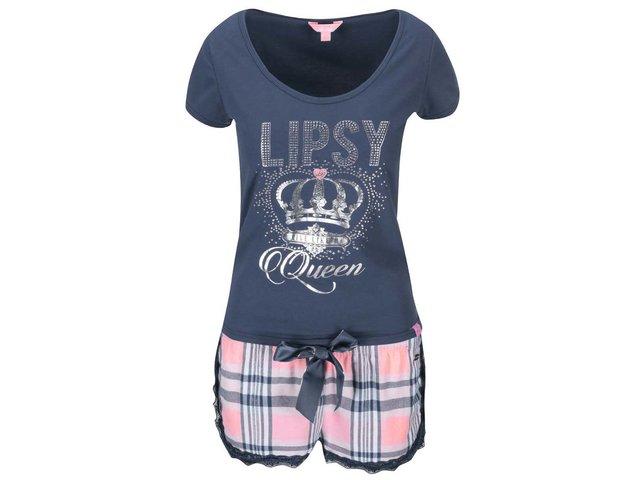 Růžovo-modré pyžamo s károvanými kraťásky Lipsy Queen