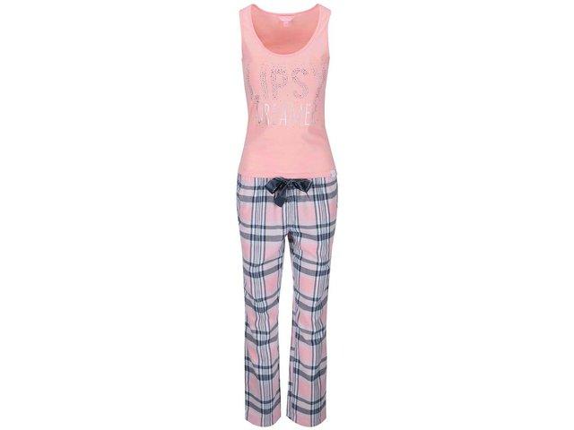 Růžové pyžamo s károvanými kalhotami Lipsy
