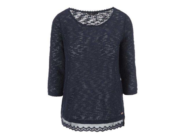 Tmavě modrý svetr s krajkou ONLY New Best
