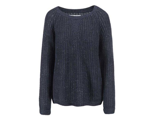 Tmavě modrý volný svetr s přidanou nití ve stříbrné barvě ONLY Ana