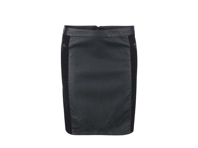 Černá kožená sukně ONLY Carma