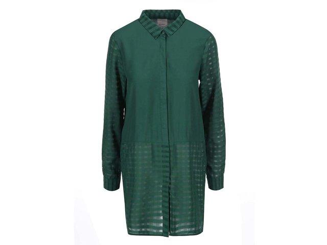 Tmavě zelená delší košile Vero Moda Camella