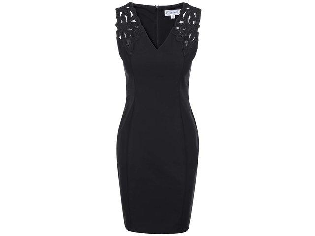 Černé pouzdrové šaty s výstřihem do
