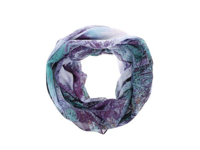 Zeleno-fialový dutý šátek s motivem krajiny Pieces Vessa