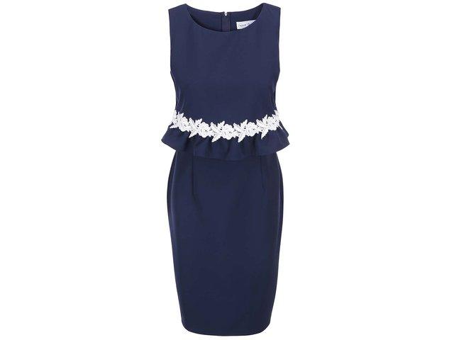 Tmavě modré šaty s bílou krajkou Paper Dolls