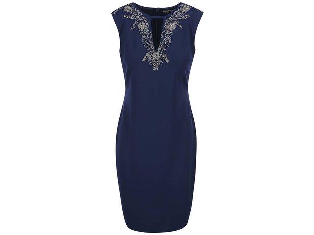 Tmavě modré šaty se zdobeným dekoltem Little Mistress