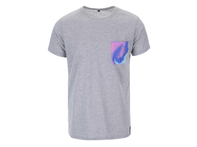 Šedé unisex triko s modrou kapsou Grape