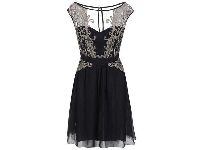 Černé šaty s topem ve zlaté barvě Little Mistress