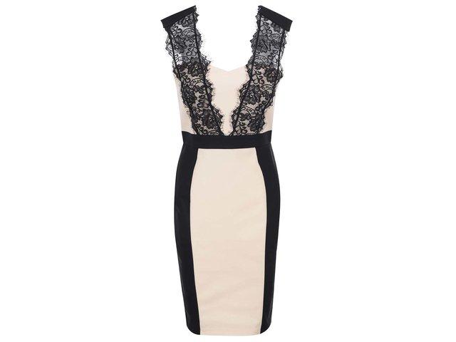Černo-béžové šaty s krajkou Paper Dolls