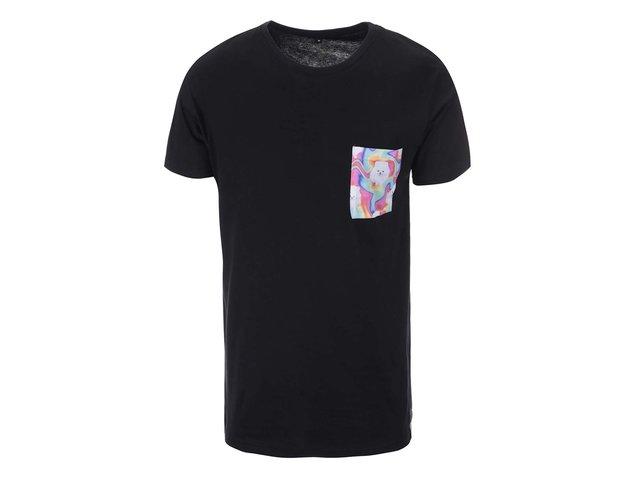 Černé unisex triko s psíkem na kapse Grape Pocket Dogs
