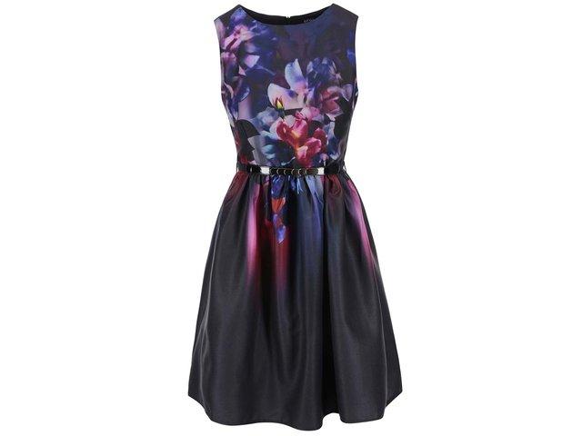 Černé šaty s květinovým potiskem Little Mistress