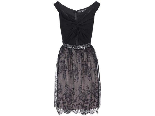 Černé šaty s krajkovanou sukní Little Mistress