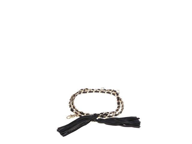 Černý pásek s řetízkem ve zlaté barvě Pieces Varda