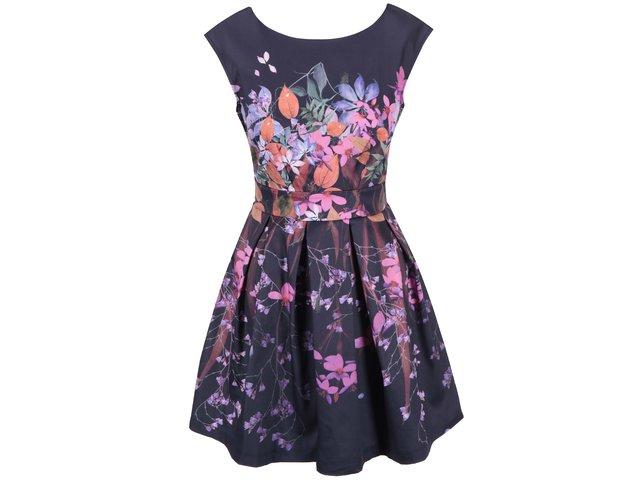Tmavě modré šaty s květinovým potiskem Closet