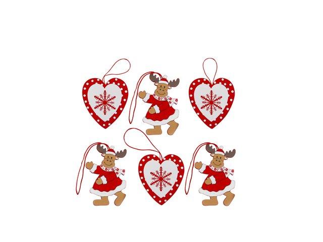 Set dvanácti dřevěných vánočních ozdob Sass & Belle Rudolph