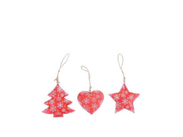 Set tří červených ozdob s vánočním motivem Sass & Belle