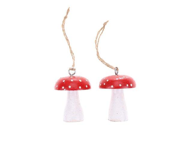 Sada dvou vánočních ozdob ve tvaru houbiček Sass & Belle