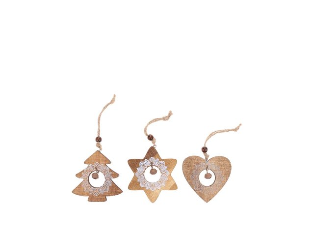Set tří dřevěných ozdob s vánočním motivem Sass & Belle