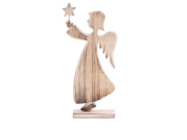 Hnědý dřevěný andílek Sass & Belle Laponia Angel