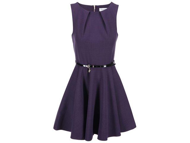Fialové šaty s černým páskem Closet