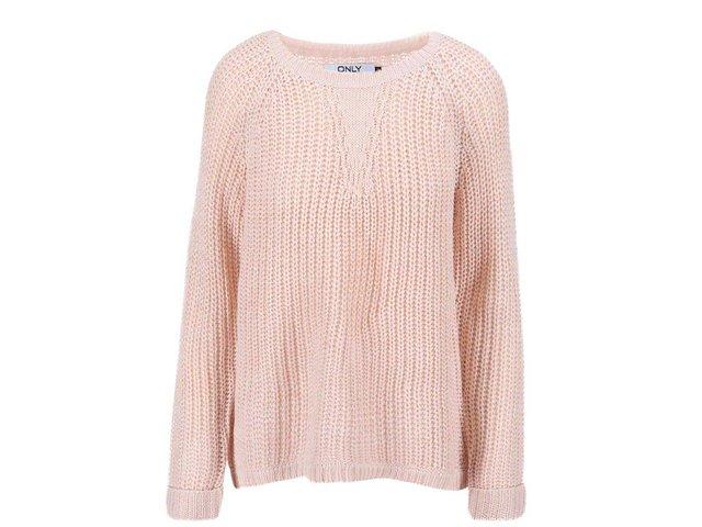 Světle růžový volný svetr s přidanou nití ve stříbrné barvě ONLY Ana